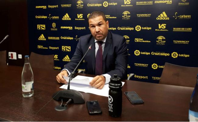 Juan Carlos Cordero en su despedida del Cádiz CF