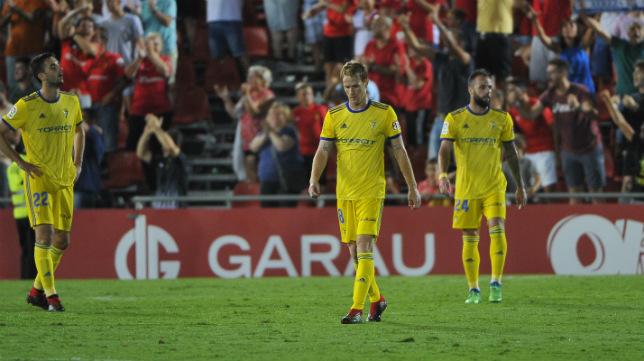 Edu Ramos en su debut con el Cádiz CF en Mallorca.