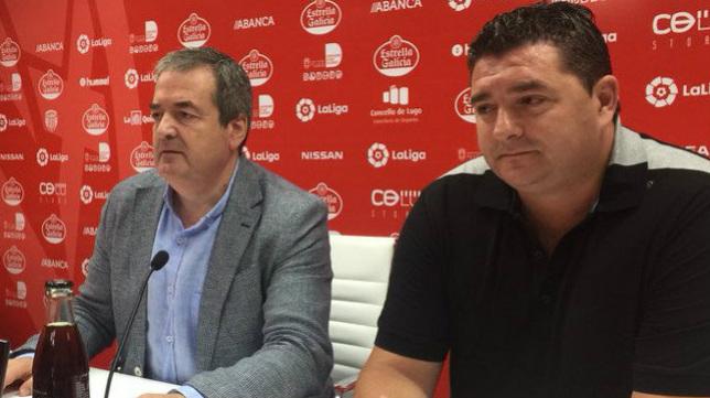 El presidente del Lugo y el director deportivo del Lugo, en rueda de prensa.