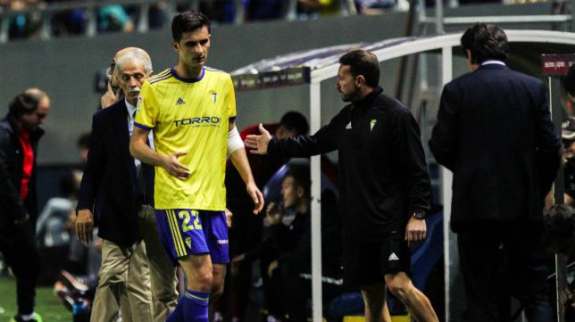 Kecojevic, en el momento de ser sustituido ante el Sporting.