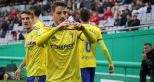 Vallejo celebra su gol en Córdoba