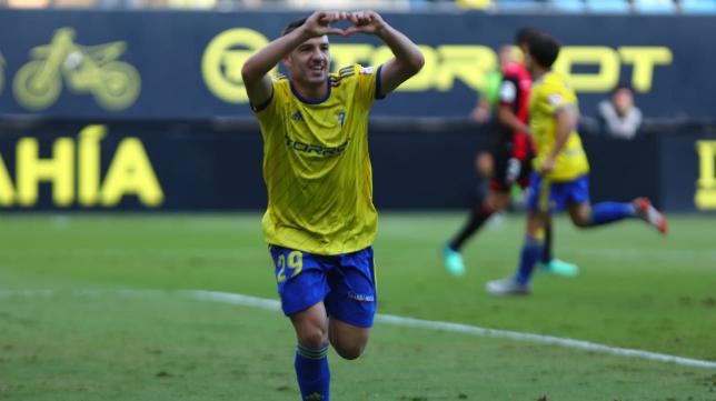 Manu Vallejo celebra el gol ante el Reus.