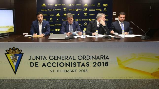 Pina, Cobo, Vizcaíno y Martín Marichal, en la última junta de accionistas con el murciano.