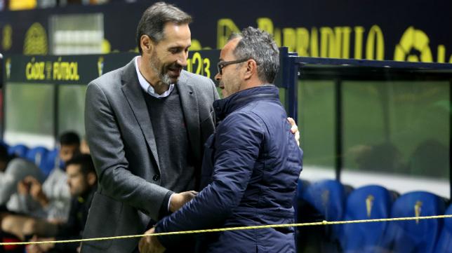 Cervra y Moreno, antes del partido.