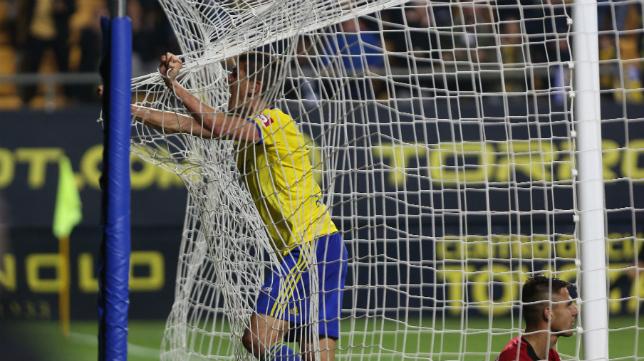 Garrido celebra su gol ante el Mallorca la temporada pasada.