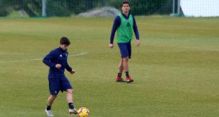 Jairo y Garrido en un entrenamiento.