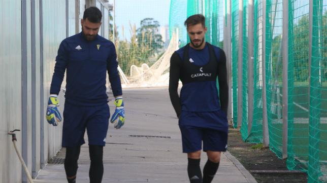 Cifuentes y Rober Correa, antes de un entrenamiento.