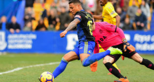 Machís en el momento del gol en Alcorcón.
