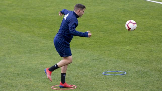 Manu Vallejo durante un entrenamiento.