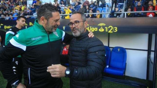 Rafa Navarro con Cervera antes del partido