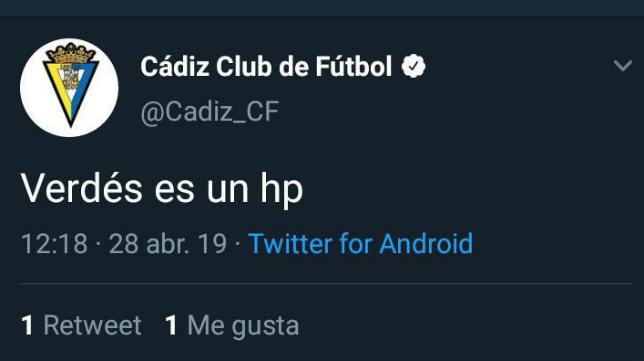 Captura del tuit publicado por error o 'hackeo' desde la cuenta del Cádiz CF.