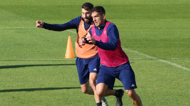 Garrido y José Mari en un entrenamiento