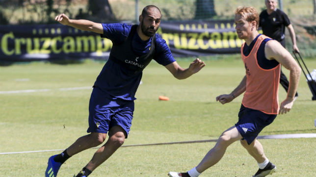 Fali y Álex, durante un entrenamiento.