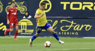 Manu Vallejo salió en la segunda parte ante el Osasuna.