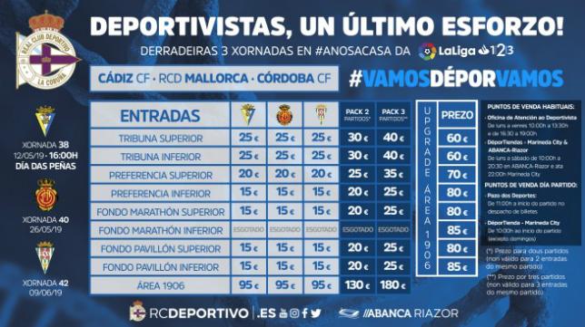 Lista de precios para el próximo Deportivo-Cádiz CF. Foto: RC Deportivo.