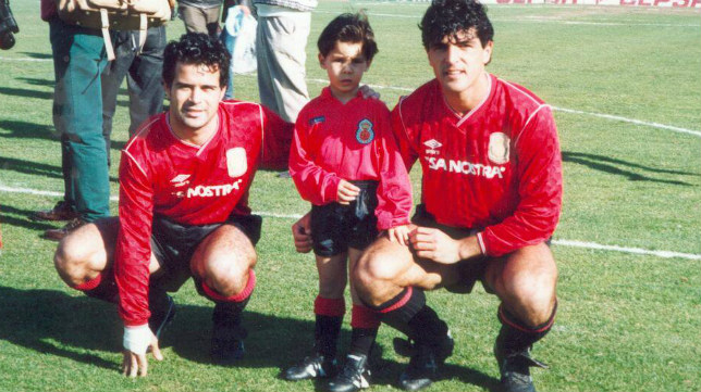 Cervera y Miguel Ángel Nadal, junto al pequeño Rafa cuando los futbolistas jugaban en el Mallorca.