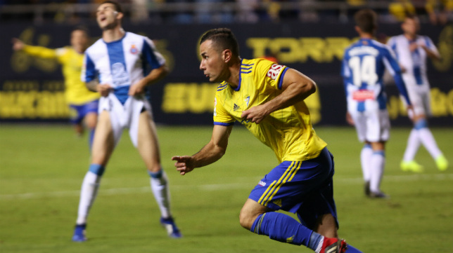 Karim celebra el gol que acortó distancias frente al Espanyol.