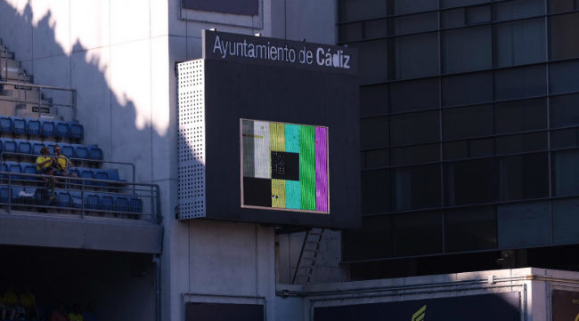 Imagen del marcador de Carranza en el primer partido ante la Ponferradina