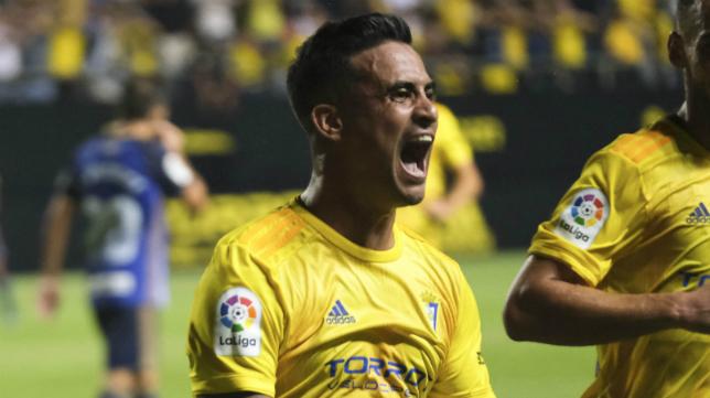 Nano Mesa celebra su gol a la Ponferradina.