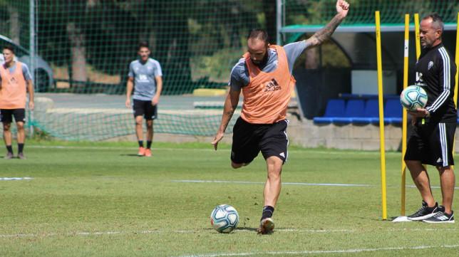 Edu Ramos, en el entrenamineto de este miércoles. CCF