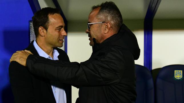 Fran Fernández y Álvaro Cervera, antes del partido de la primera vuelta en Alcorcón.
