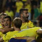 Garrido celebra el tanto marcado al Extremadura en el descuento
