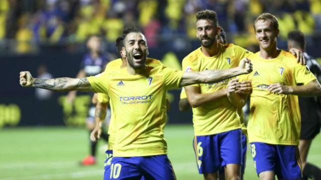 Perea celebra el gol ante el Girona