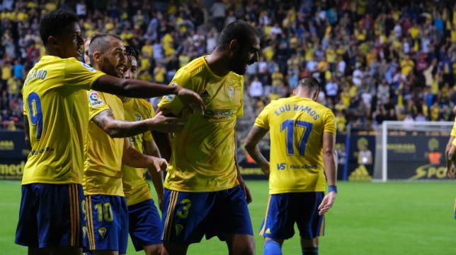 Fali celebra el gol que abrió la victoria ante Las Palmas.