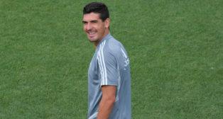Garrido sonríe en un entrenamiento.