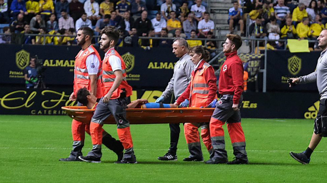 Mantovani salió lesionado del Estadio Ramón de Carranza.