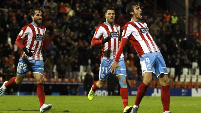Manu Barreiro celebra uno de los cinco goles que lleva esta temporada.