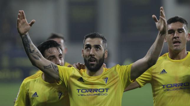 Perea celebra su gol ante el Numancia.