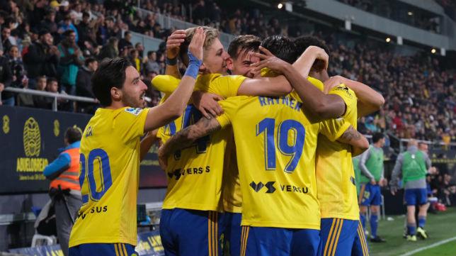 El Cádiz CF celebra un gol esta temporada