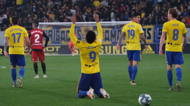 'Choco' Lozano celebra su gol ante el Mirandés esta temporada.
