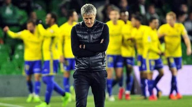 Quique Setién, el día que fue eliminado por el Cádiz en Copa. Foto: Marca