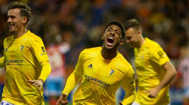 Choco Lozano celebra el gol marcado en Lugo en el último encuentro disputado antes del coronavirus.