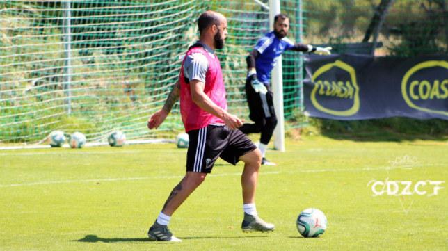 Edu Ramos, en un momento del entrenamiento.