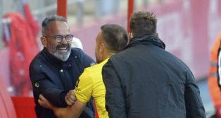 Cala celebra el gol de la victoria en Soria junto a Álvaro Cervera.