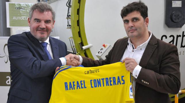 Manuel Vizcaíno junto a Rafael Contreras en una imagen de archivo. Foto: Cádiz CF.
