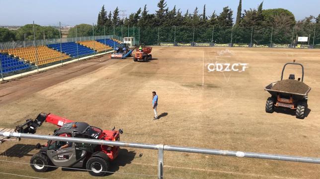 Los trabajos de mejoras han comenzado en El Rosal. Foto: Cádiz CF.