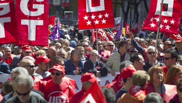 Manifestación de UGT y Comisiones Obreras por el 1 de mayo