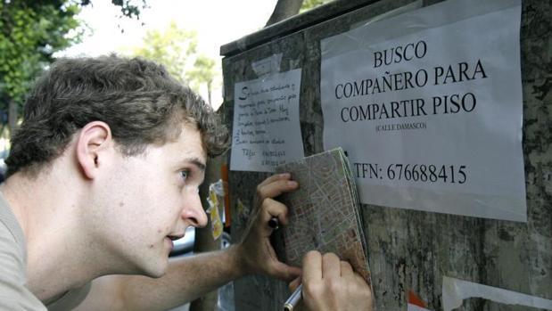Estudiantes mirando carteles de alquiler en Córdoba