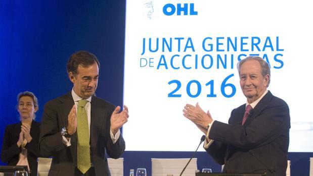 El actual presidente de OHL, Juan Villar-Mir de Fuentes, y el anterior presidente Juan Miguel Villar Mir