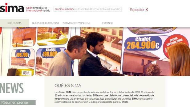 Página web del salón inmobiliario SIMA
