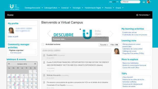 El nuevo campus virtual ofrece al empleado de Indra nuevas herramientas corporativas