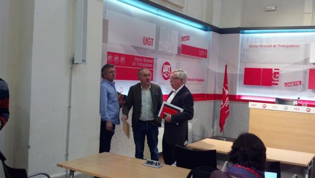 Álvarez y Toxo, esta mañana en la sede de UGT