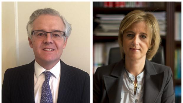 Combo de fotografías facilitadas por el Ministerio de Economía del socio del despacho de abogados Linklaters Sebastián Albella (i), y Ana María Martínez-Pina