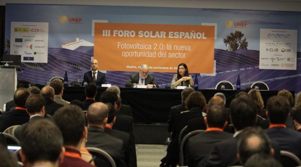 El comisario Arias Cañete, hoy, durante su intervención en el foro