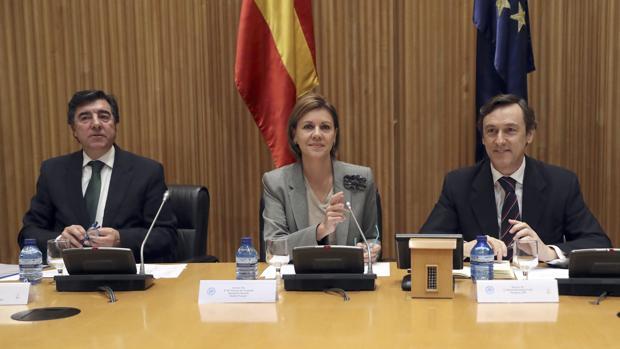 La secretaria general del PP y ministra de Defensa, María Dolores de Cospedal (c), junto al portavoz del partido en el Congreso, Rafael Hernando (d), y el diputado José Antonio Bermúdez de Castro (i)