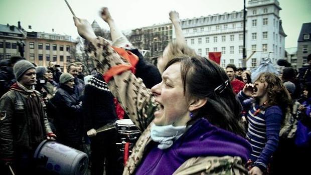 Imagen de archivo que muestra una protesta en Islandia